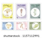 autumn vegetables  post stamps... | Shutterstock .eps vector #1157112991