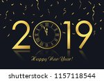 happy new year 2019 greeting... | Shutterstock .eps vector #1157118544