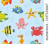 seamless pattern animal sea... | Shutterstock .eps vector #1157133667