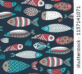 seamless pattern with fishes.... | Shutterstock .eps vector #1157141071