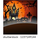full blood moon background with ... | Shutterstock .eps vector #1157149144