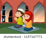 muslim people praying at mosque ... | Shutterstock .eps vector #1157167771