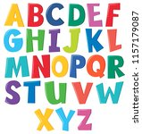 colourful english alphabet on... | Shutterstock .eps vector #1157179087
