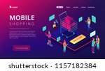 isometric users buying with... | Shutterstock .eps vector #1157182384