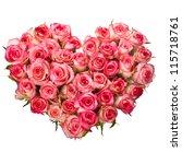 heart shaped bouquet of pink... | Shutterstock . vector #115718761