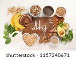magnesium rich foods. top view. ... | Shutterstock . vector #1157240671