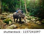 tourist couple riding elephant... | Shutterstock . vector #1157241097