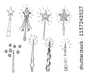 hand drawn doodle magic wand... | Shutterstock . vector #1157243527