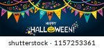 happy halloween. greeting card. ... | Shutterstock .eps vector #1157253361
