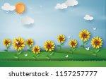 paper art style of sunflower... | Shutterstock .eps vector #1157257777