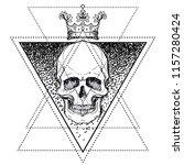 human skull in crown over... | Shutterstock .eps vector #1157280424