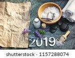 spa set for 2019 with bath salt ...   Shutterstock . vector #1157288074