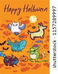 happy halloween card. fantasy... | Shutterstock .eps vector #1157289997