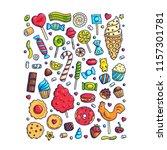 huge set of cartoon doodle form ... | Shutterstock .eps vector #1157301781