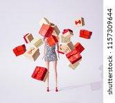 girl doll in silver glittering... | Shutterstock . vector #1157309644