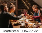 group of friends toasting with... | Shutterstock . vector #1157314954