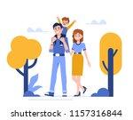 family characters walking in...   Shutterstock .eps vector #1157316844