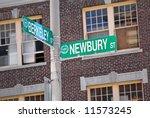 street signs corner of newbury and berkeley in boston mass