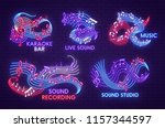 music neon light sign of... | Shutterstock .eps vector #1157344597