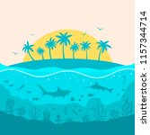 tropical island and the life of ...   Shutterstock .eps vector #1157344714