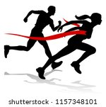 silhouette runners in a race... | Shutterstock .eps vector #1157348101