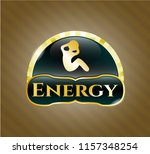 gold badge or emblem with... | Shutterstock .eps vector #1157348254