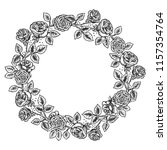 rose flower wreath frame... | Shutterstock .eps vector #1157354764