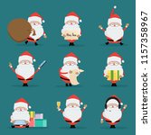 santa claus with a gift box... | Shutterstock .eps vector #1157358967