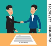 two business man shaking hands... | Shutterstock .eps vector #1157367091