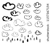 hand drawn clouds and rain... | Shutterstock .eps vector #1157367154