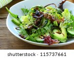 salad mix with avocado and... | Shutterstock . vector #115737661