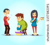 set of ill people having cold... | Shutterstock .eps vector #1157382391
