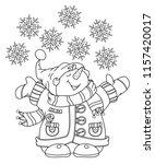 vector   happy snowman cartoon  ...   Shutterstock .eps vector #1157420017