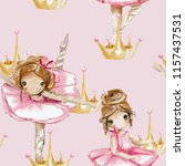 watercolor ballerina seamless ... | Shutterstock . vector #1157437531