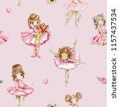 watercolor ballerina seamless ... | Shutterstock . vector #1157437534