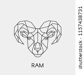geometric linear ram head.... | Shutterstock .eps vector #1157438731