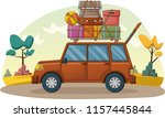 cartoon car with suitcases on... | Shutterstock .eps vector #1157445844