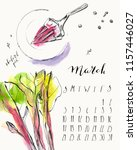 march 2019 calendar with ink... | Shutterstock .eps vector #1157446027