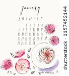 january 2019 calendar with ink... | Shutterstock .eps vector #1157452144