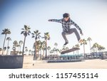 cool skateboarder outdoors  ... | Shutterstock . vector #1157455114