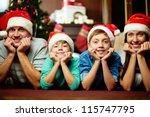 portrait of friendly family in... | Shutterstock . vector #115747795