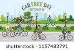 car free day. people riding... | Shutterstock .eps vector #1157483791