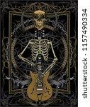 rock guitar skeleton drawing art | Shutterstock .eps vector #1157490334