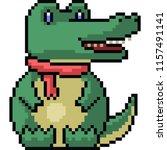 vector pixel art crocodile... | Shutterstock .eps vector #1157491141
