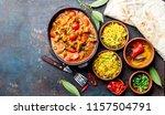 indian food. rogan josh curry... | Shutterstock . vector #1157504791