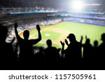 Baseball fans and crowd cheering in stadium and watching the game in ballpark. Happy people enjoying a match and sport event in arena. Friends watching ballgame live.