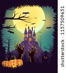 happy halloween night party... | Shutterstock .eps vector #1157509651