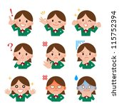 girl expressions with lip sync. | Shutterstock . vector #115752394