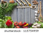 vegetables and spices vintage... | Shutterstock . vector #115754959