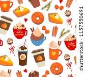 pumpkin spice. various tasty... | Shutterstock .eps vector #1157550691